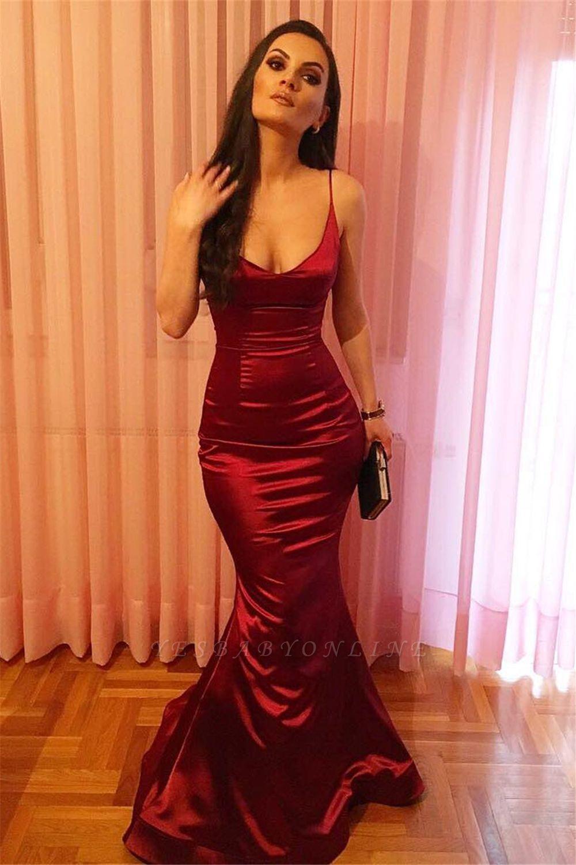 Burgundy Long Mermaid Prom Dresses | Spaghetti-straps V-neck Evening Gowns