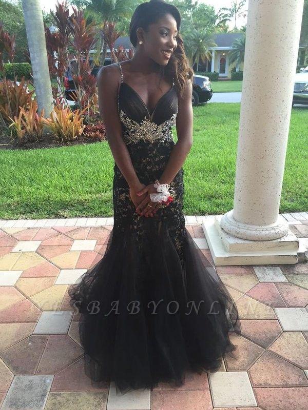 Appliques Black Spaghetti-Straps Mermaid Crystal  Prom Dress