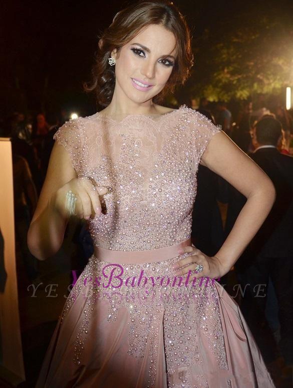 Diamonds Cap-Sleeve Charming Designer Pink Evening Dress