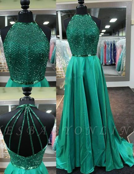 Amazing Dark Green Prom Dresses Long Halter Neck Net Design Top A-line Evening Gowns