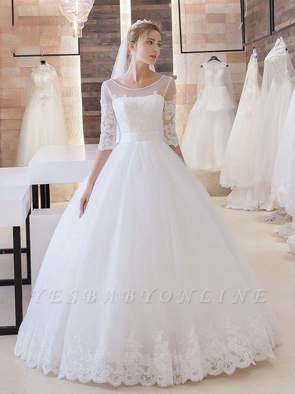 Glitter Lace Half-Sleeve Floor-Length Princess Lace-Up Wedding Dress