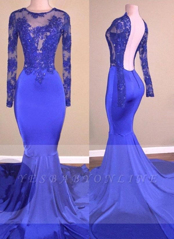 Royal-Blue Beaded Sexy Backless Long-Sleeves Mermaid Prom Dresses