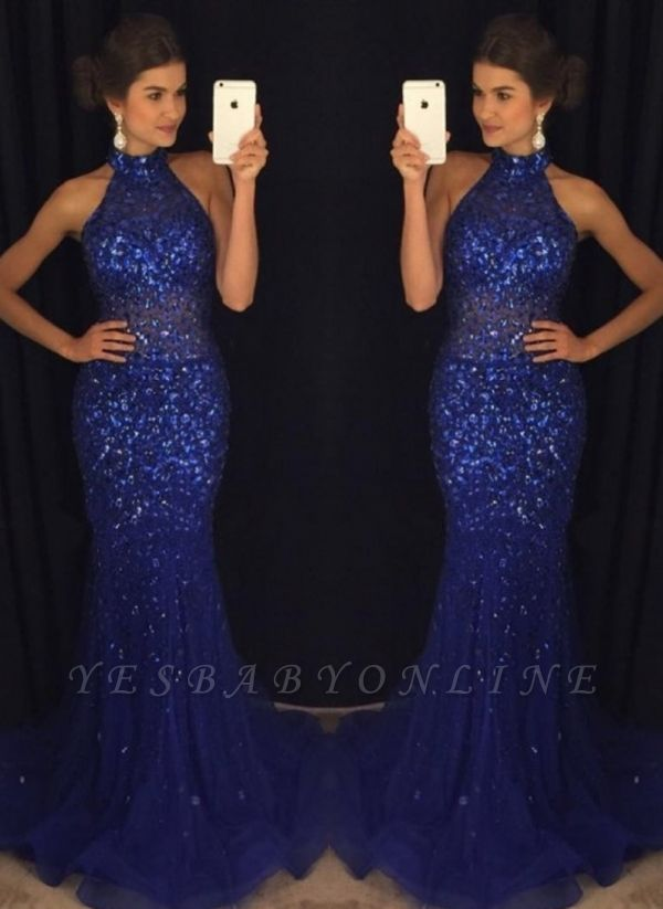 Halter Beaded Mermaid Prom Dresses | Elegant Sleeveless Long Evening Gowns