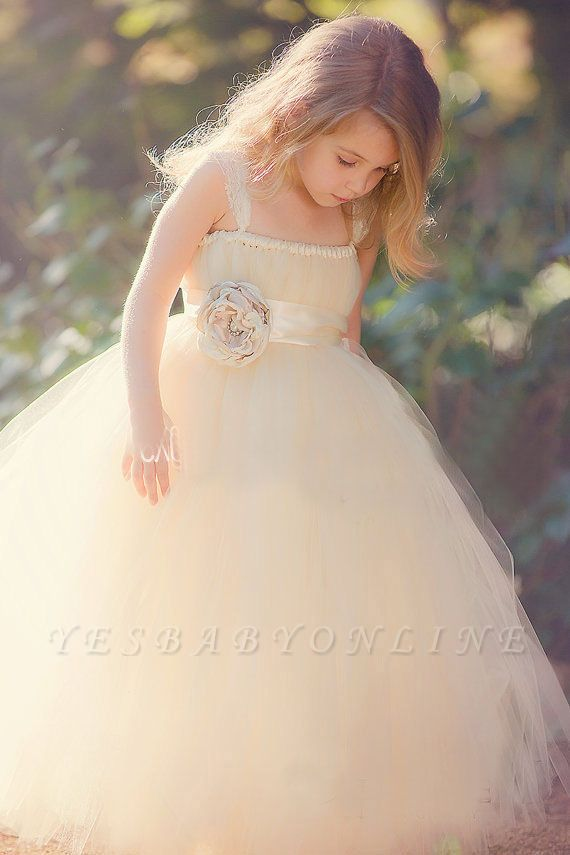 Lovely Light Champagne Sweet Girls Pageant Dress | Puffy Skirt Tulle Flower Girl Dress