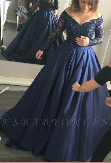 Long-Sleeves Navy-Blue Elegant Lace Off-the-Shoulder Prom Dress