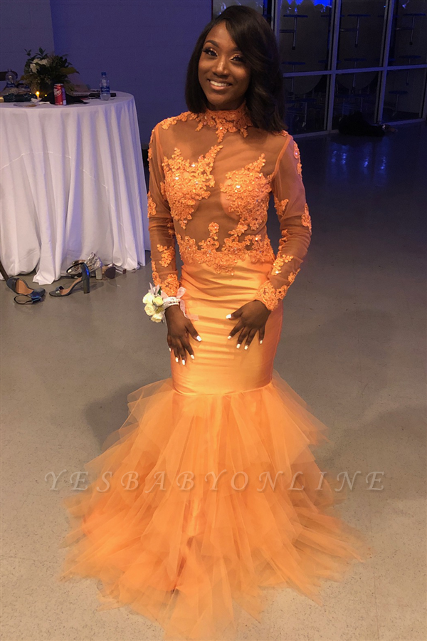 Yellow High Neck Long Sleeve Applique Beading Mermaid Prom Dresses | Tiered Cheap Evening Dresses