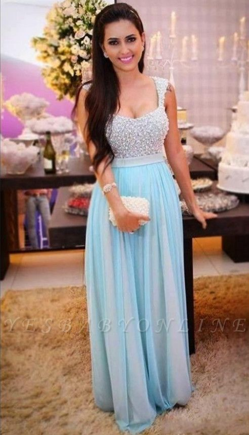 A-Line Beading Sleeveless Long Empire Crystal Prom Dresses