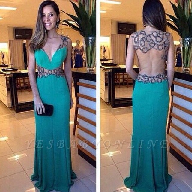 Floor-length Green Crystal Elegant Deep-V-neck Column Hollow Evening Dress