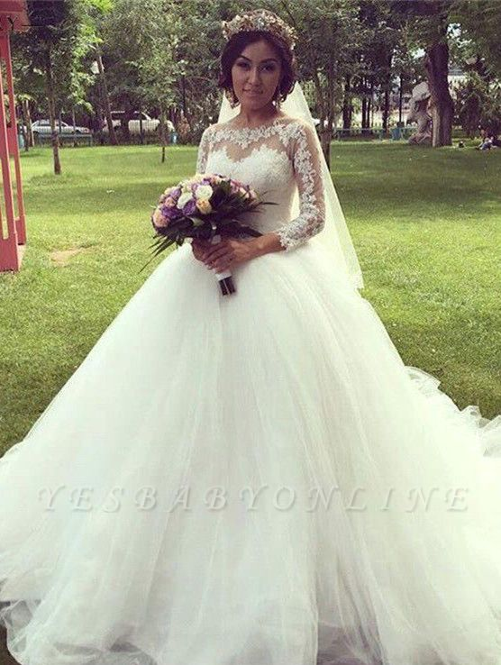 Tulle Glamorous Long Sleeves Princess Lace Ball-Gown Wedding Dress