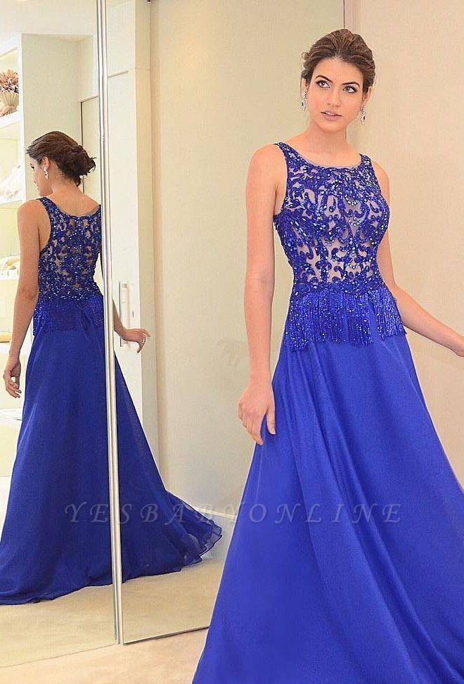 Beading Scoop Blue Chiffon A-line Chic Evening Dress