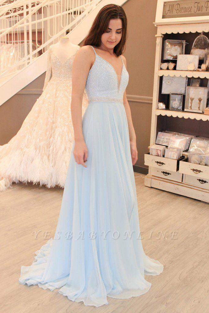 Sleeveless Spaghetti-Strap Beads Elegant A-line Prom Dress