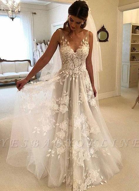 Stunning Rose A-line Wedding Dresses   V-Neck Appliques Bridal Gowns