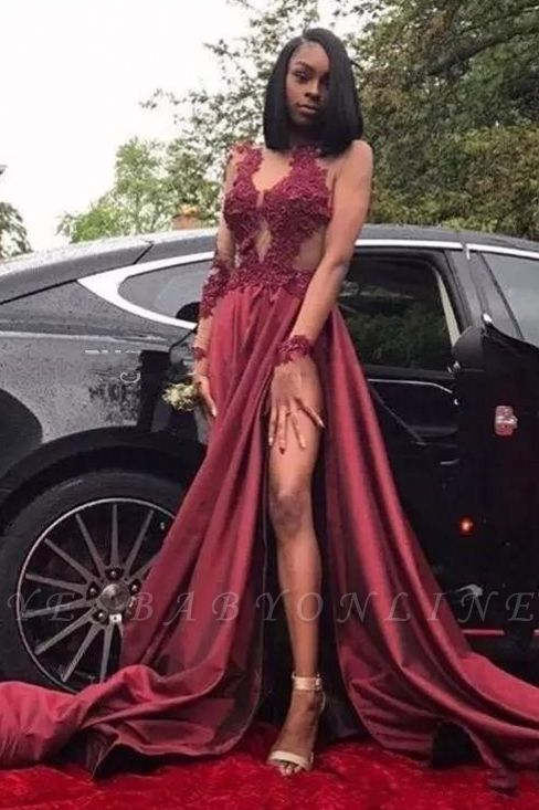 Sexy Sheer Burgundy Prom Dresses | Long Sleeves High Slit Party Gowns
