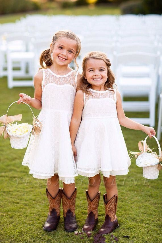 Knee-length White Sleeveless A-line Illusion Lace Modern Flower-Girl Dress
