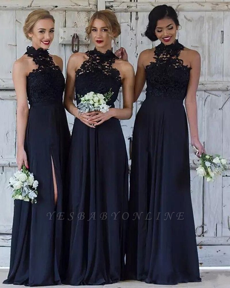 Cheap Dark Navy A-Line Bridesmaid Dresses | Halter Lace Side Slit Maid Of The Honor Dresses