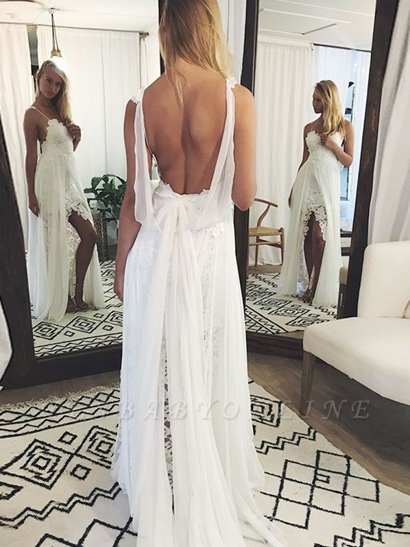 Chic Backless Lace Wedding Dresses | Simple Side Slit Spaghetti -Strap Bridal Gowns