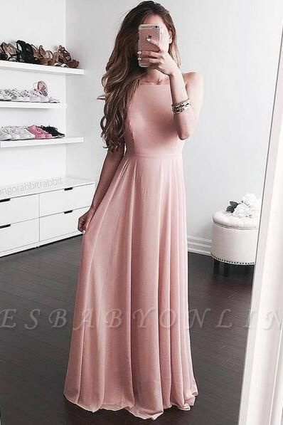 2019 Simple Pink A-line Prom Dresses  Long Evening Gowns