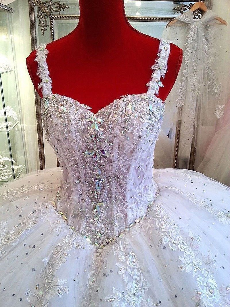 Straps Lace Sparkly Puffy Beading Luxurious Ball-Gown Crystals Wedding Dress