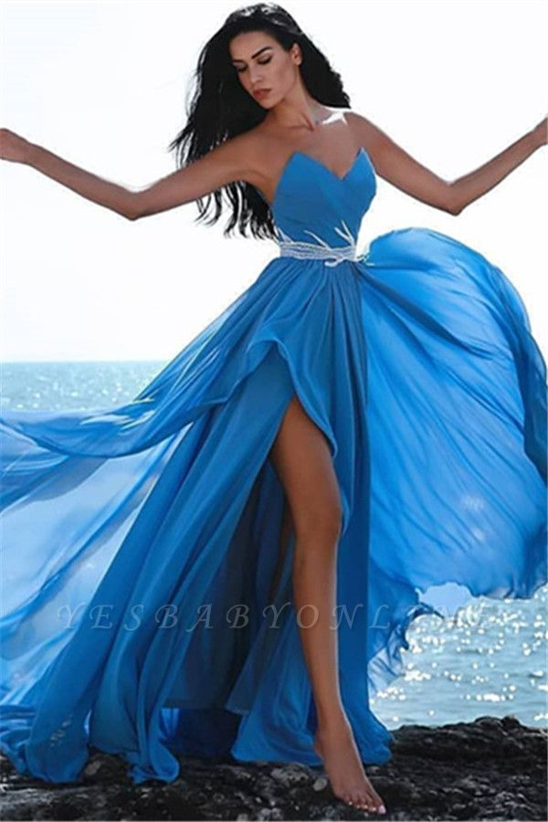 Simple Blue Sweetheart Evening Dresses | Crystal Side Slit Cheap Prom Dress