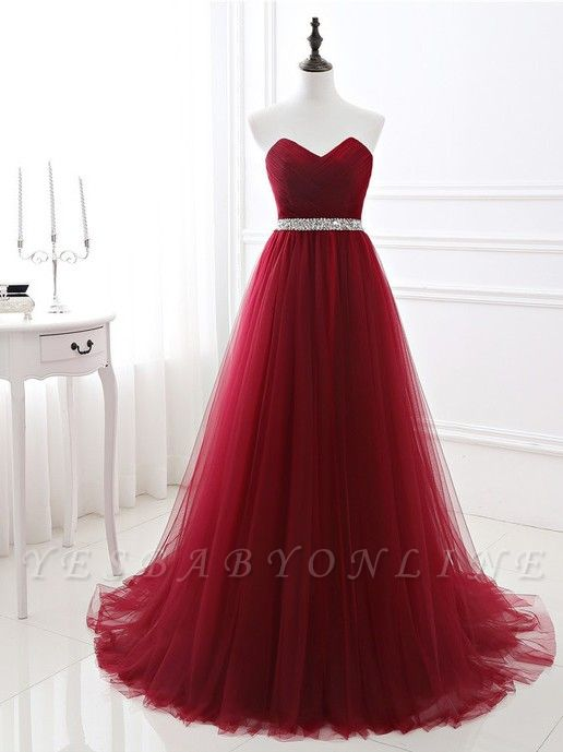 A-Line Strapless Prom Dresses| Floor Length Sweetheart Evening Gowns with Beadings