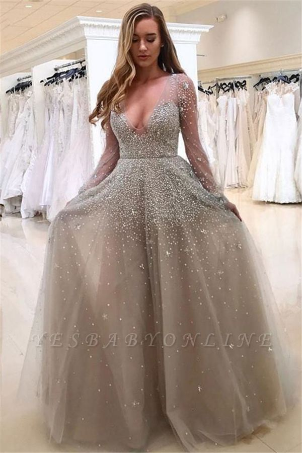 Long A-line Beading Prom Dresses   Deep V-neck Long Sleeves Evening Gowns