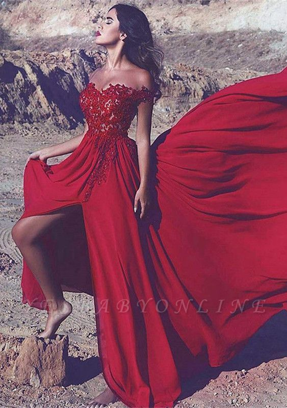 Split Long Off-the-Shoulder Appliques Red Lace Prom Dress