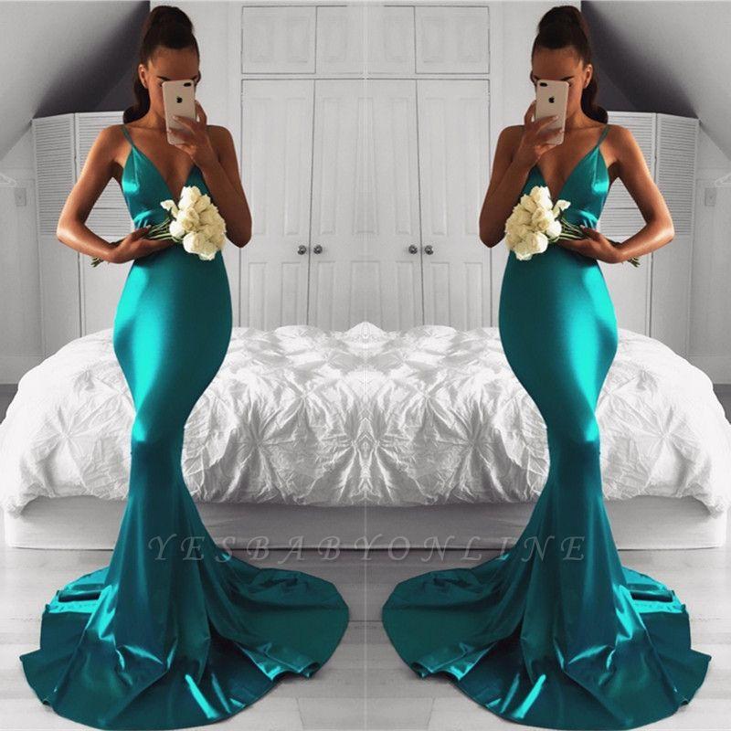 Spaghetti-Strap Sleeveless Mermaid Green Sexy Prom Dress