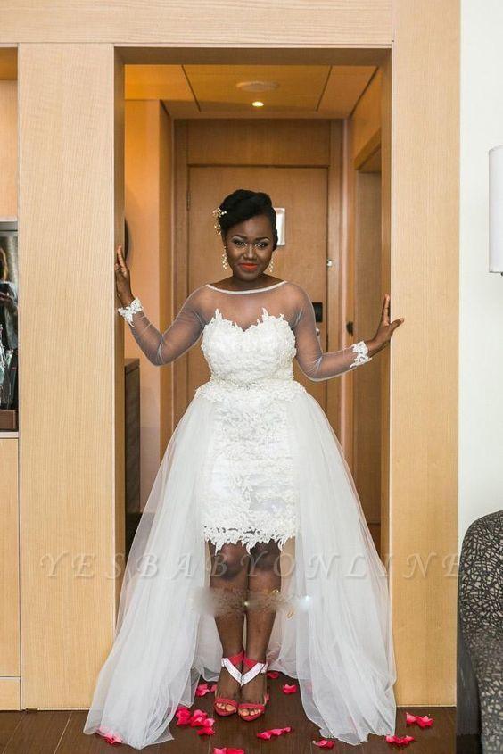 Long Sleeves Mesh Hi-Lo Modern White  Lace Appliques Wedding Dress