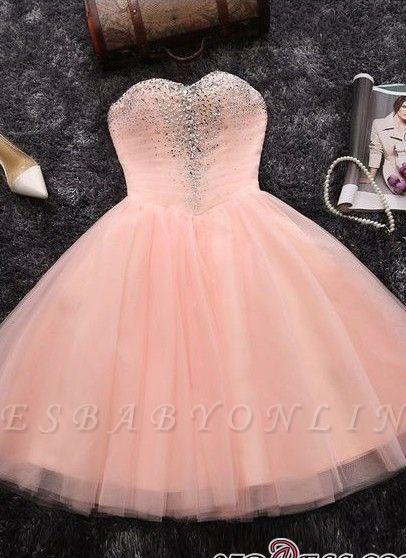 Short Crystals A-line Pink Sweetheart-Neck Elegant Homecoming Dresses