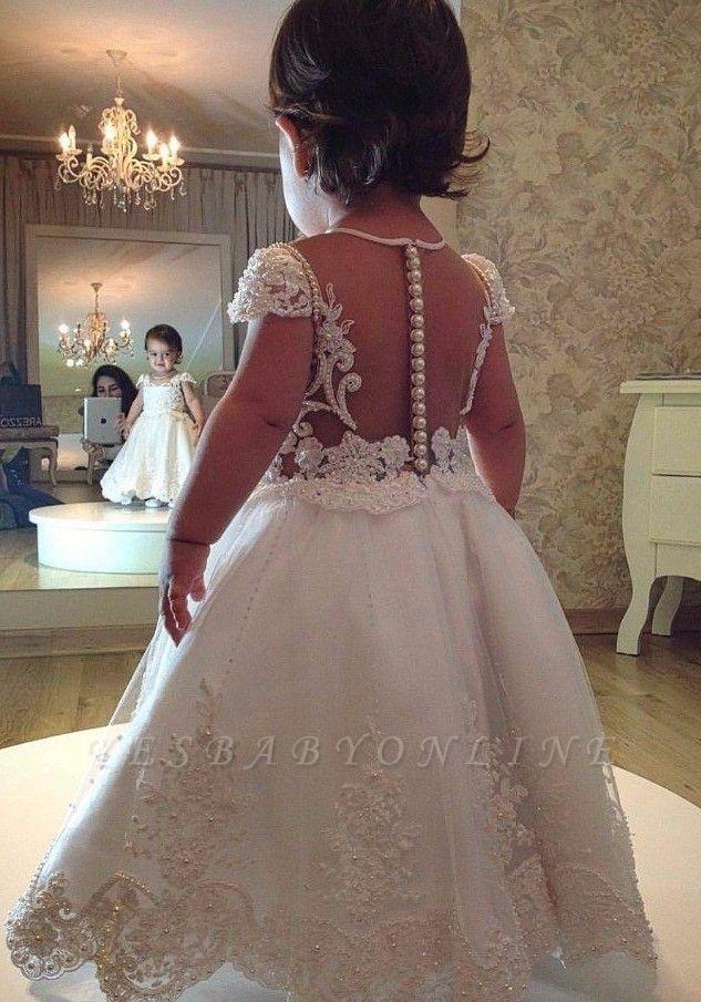 White Princess Flower Girl Dresses | Short Sleeves Pearls Girl Long Party Dress