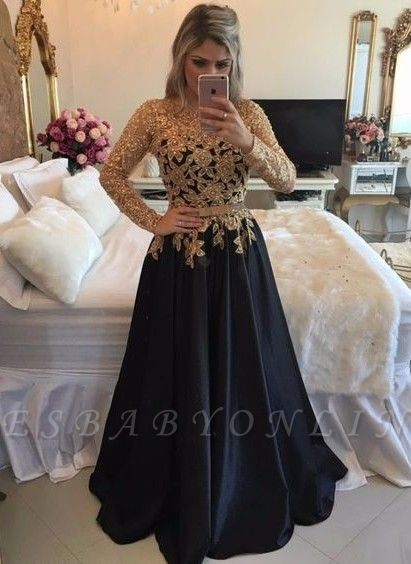 Gold Black Puffy Prom Dresses Lace Appliques Pearls Long Sleeves Puffy Formal Gowns