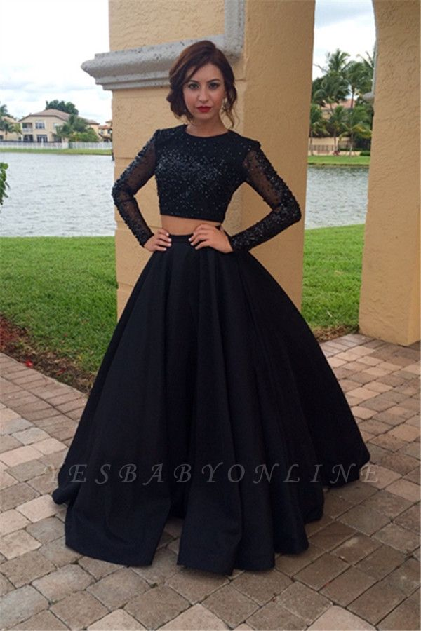 Appliques Black A-Line Long-Sleeves Two-Pieces Crystal Prom Dress