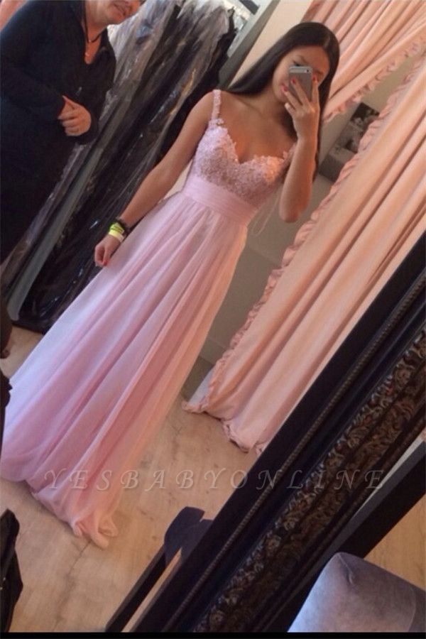 Straps Pink Simple Ruffles A-Line Floor-Length Newest Prom Dress