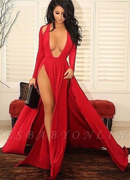 Sexy Red Slits Party Dress Long Sleeves Plunging Neck Pageant Dress