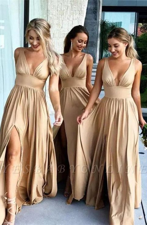 Elegant V-Neck Sleeveless Bridesmaid Dress | 2019 Bridesmaid Dress With Slit