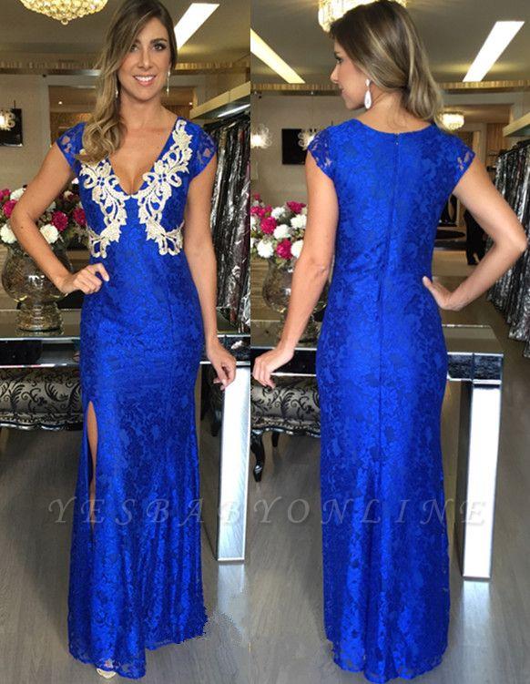 Zipper Split Royal-Blue Applique Mermaid V-Neck Long Sexy Prom Dresses