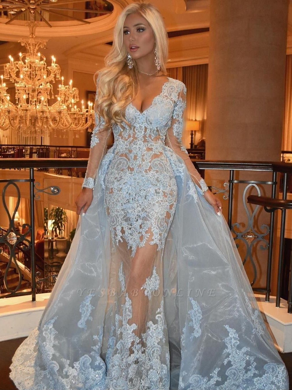 Sexy Lace Mermaid Prom Dresses | V-Neck Long Sleeves Over Skirt Evening Dresses