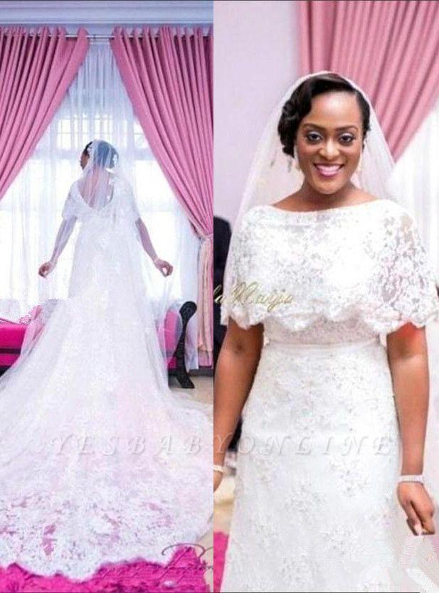 Wrap Sweep Train Exquisite White Lace Appliques Wedding Dress