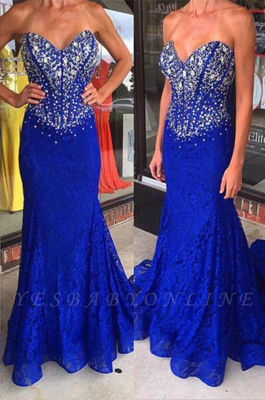 Sweep-Train Sweetheart Royal-Blue Crystal Mermaid Lace Prom Dresses