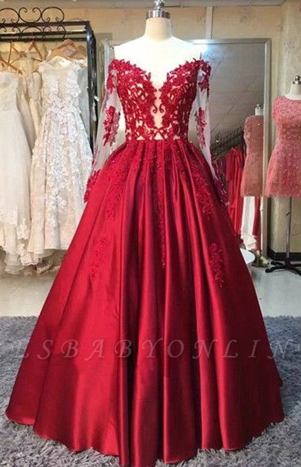 2019 Red Puffy Prom Dresses Off-the-Shoulder Long Sleeves Lace Appliques Evening Gowns