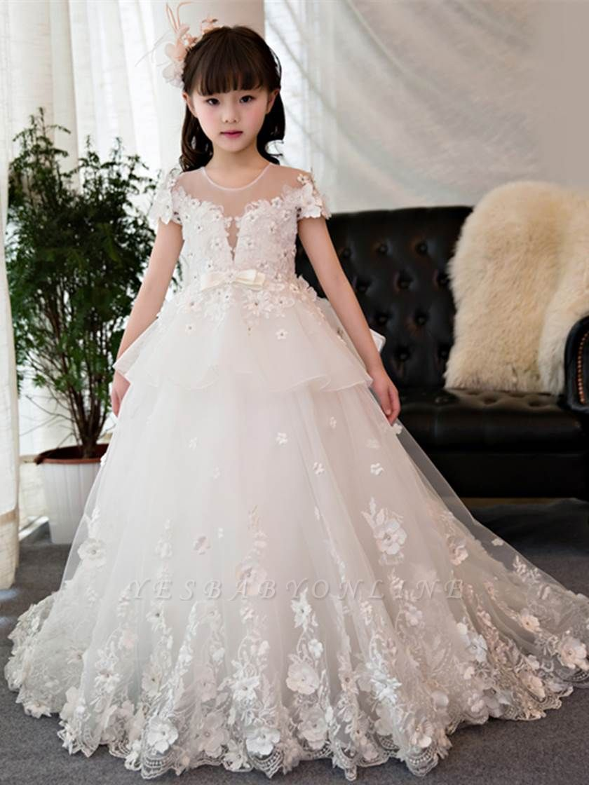 Lovely Tulle Short Sleeves Beading Girl Party Dress | Jewel Neck Court Train Ball Gown Flower Girl Dress