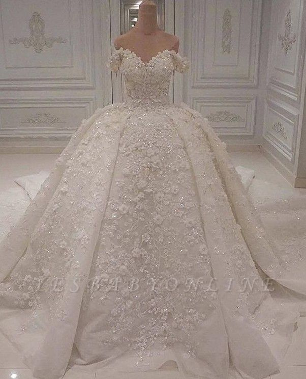 Luxurious Off The Shoulder Applique Beading Ball Gown Wedding Dresses | Puffy Bridal Gown