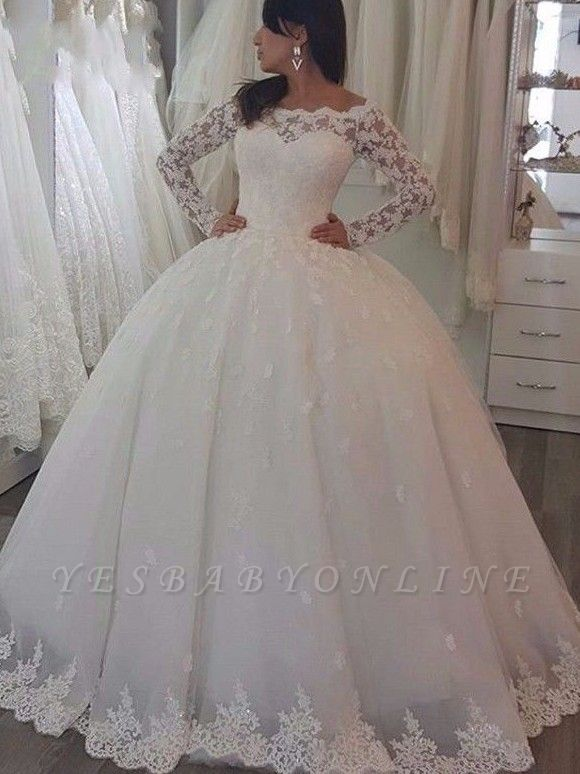 Floor Length Tulle Lace Wedding Dresses | Off the Shoulder Long Sleeves Ball Gowns with Appliques