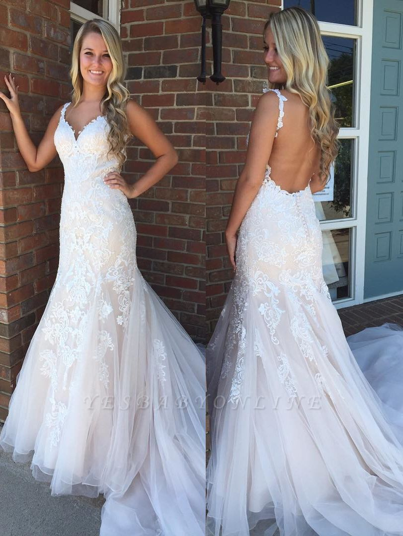 Modern Ivory Straps Lace Mermaid Wedding Dress