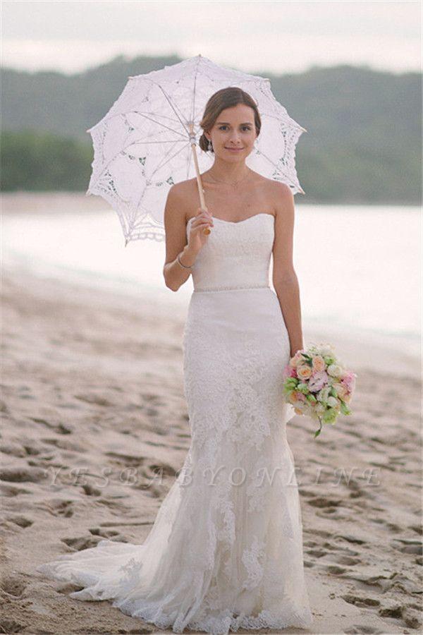 Spaghetti Straps Sheath Floor Length Beach Wedding Dresses | Destination Bridal Dresses