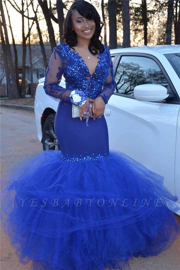Royal Blue Long Sleeve Applique Beading Memaid Prom Dresses   V Neck Tiered Evening Gown