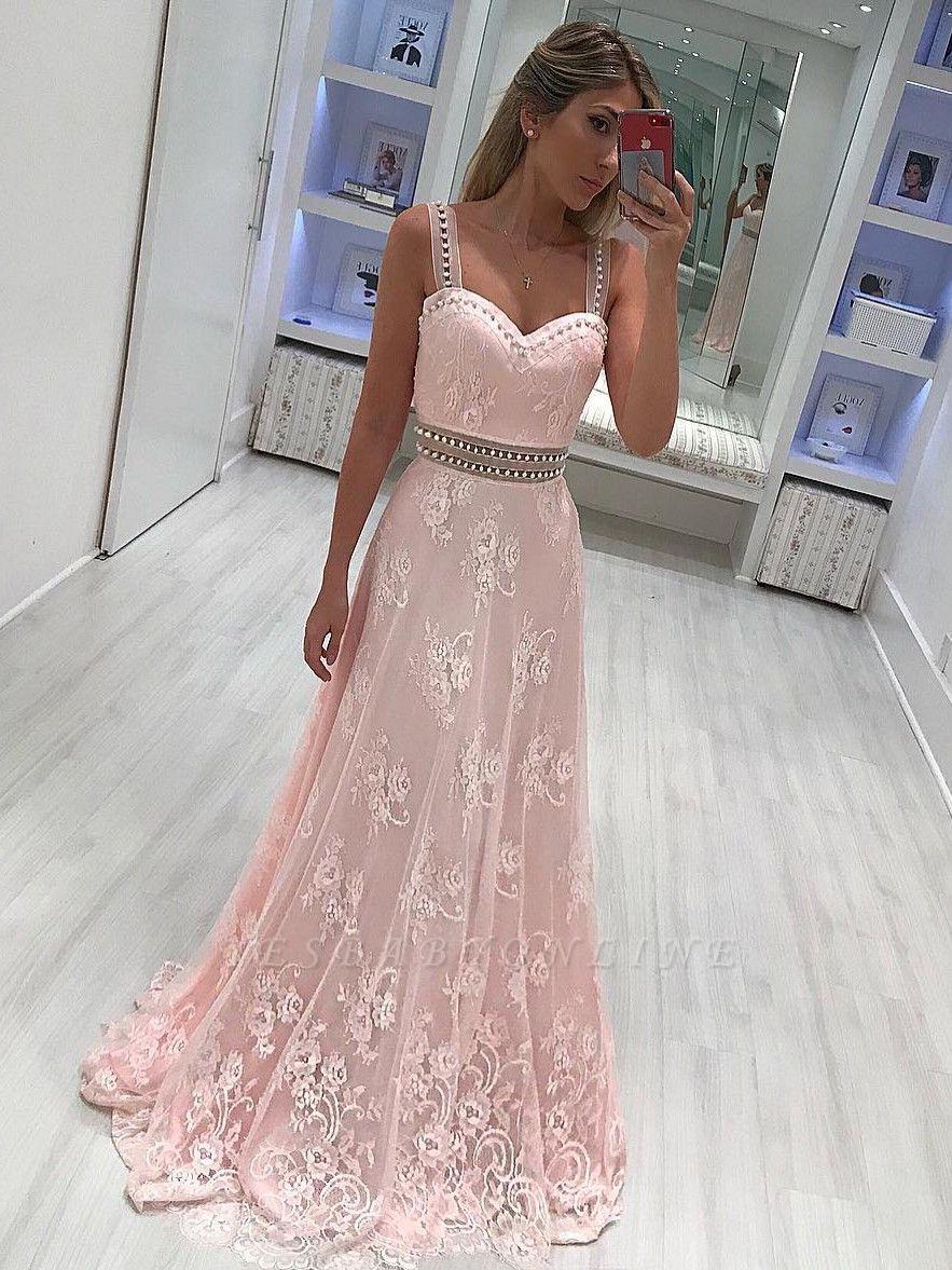 Strape lace A-line Elegant prom dresses