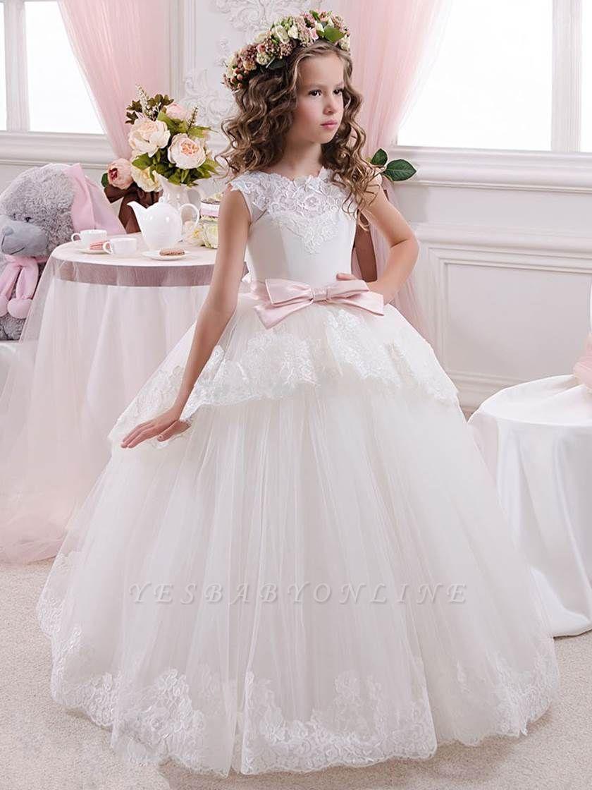 Lovely Tulle Lace Scoop Flower Girl Dresses | Sleeveless Floor Length Ball Gown Girls Party Dresses