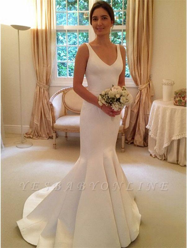 Glamorous V-Neck Sleeveless Open-Back Mermaid wedding Dress