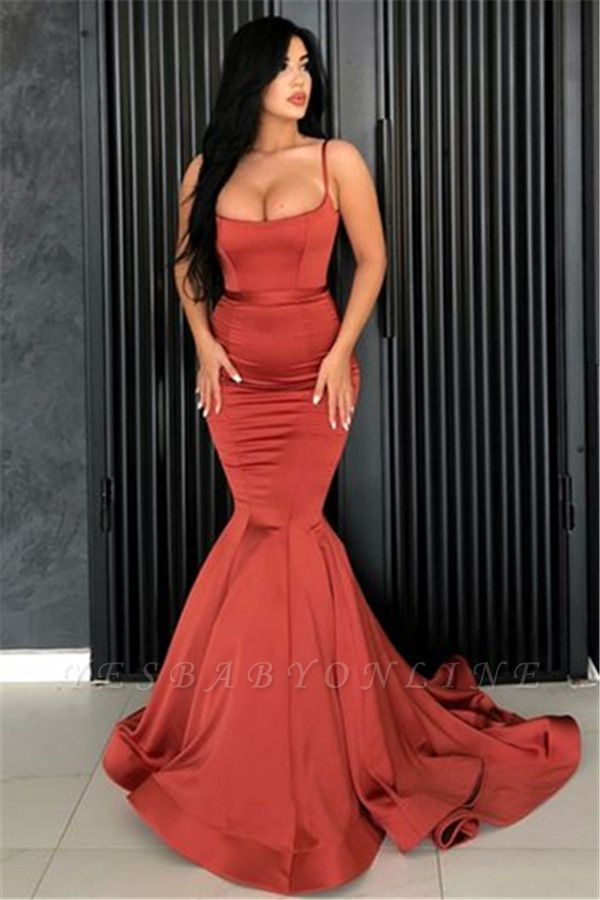 Sexy Mermaid Spaghetti Straps Evening Dresses Cheap | 2019 Long Simple Evening Gowns Online